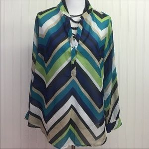 NY Collection green, blue & tan blouse size 1X